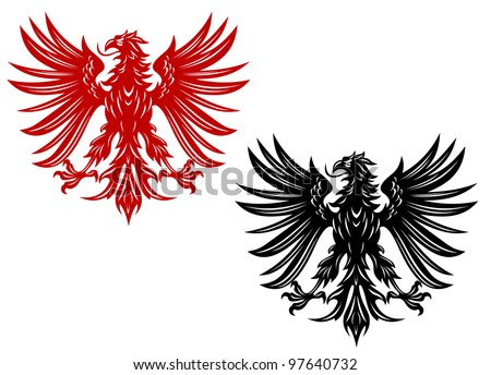 Power retro eagles for heraldry or tattoo design, such  a logo. Vector version also available in gallery - stock photo
