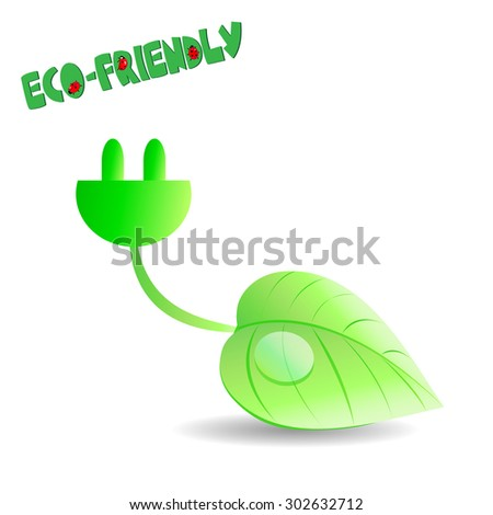 power socket with leaf - stock photo