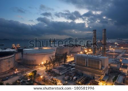 Power Station at dusk - stock photo