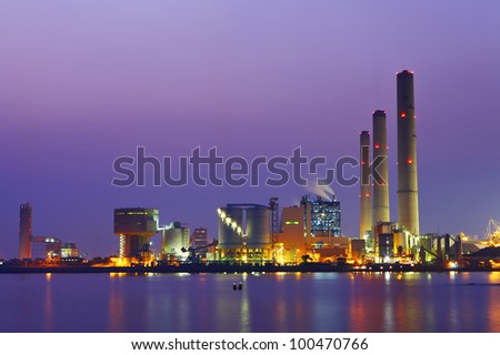 power station at night - stock photo