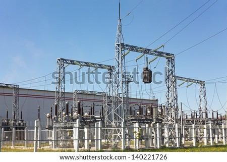Power station in color - stock photo