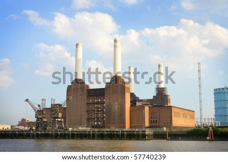 power station on bank of the river Thames in London