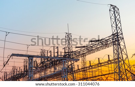 Power station. Transformer substation at sunset - stock photo