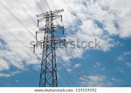 power station with blue sky. - stock photo