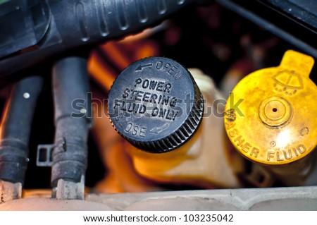 Power Steering Fluid Cap - stock photo