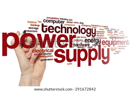 Power supply word cloud concept - stock photo