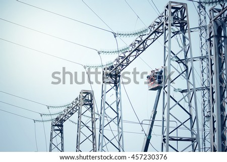 Power transformer substation. Technology installation background.