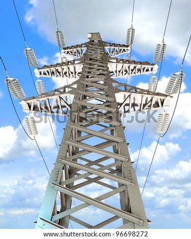 Power Transmission Line. 3d render - stock photo