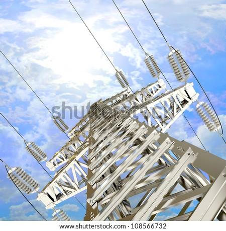 Power Transmission Line. High-voltage tower sky background. 3d render - stock photo