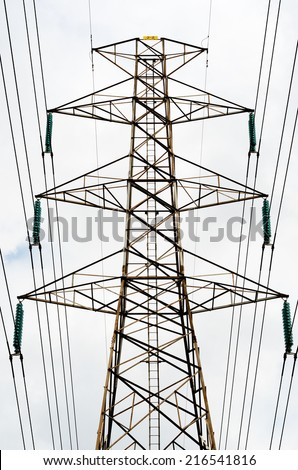 Power transmission lines against sky / Power transmission lines  - stock photo