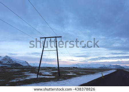 Power transmission tower in Iceland - December 2015