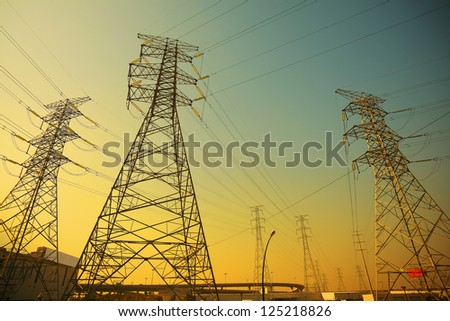 Power transmission towers of sky background