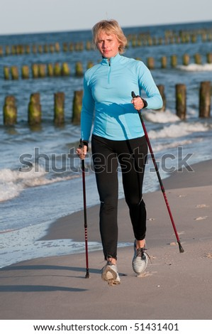 Power  walking at the beach