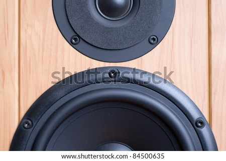 powerful acoustic system. loudspeaker close up. front side of loudspeaker system. - stock photo