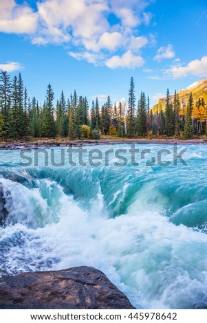 Powerful Athabasca Falls. Emerald water roars and foams on steep slope. Canada, Jasper National Park