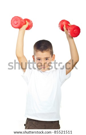 Powerful boy lifting two red dumbbell isolated on white background