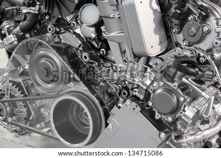 powerful car engine new technology - stock photo