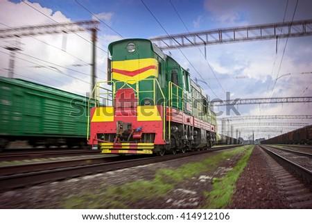 Powerful Diesel Locomotive motion blur - stock photo