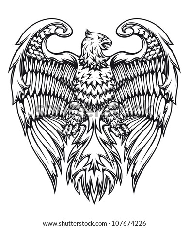 Powerful eagle or griffin in heraldic style, such a logo. Vector version also available in gallery - stock photo