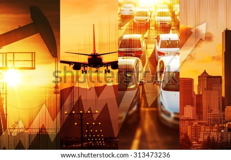 Powerful Economy Concept Collage. Oil and Gas Market, Transportation and the Large City with Skyscrapers. Global Energy and Economy Conceptual Collage. - stock photo