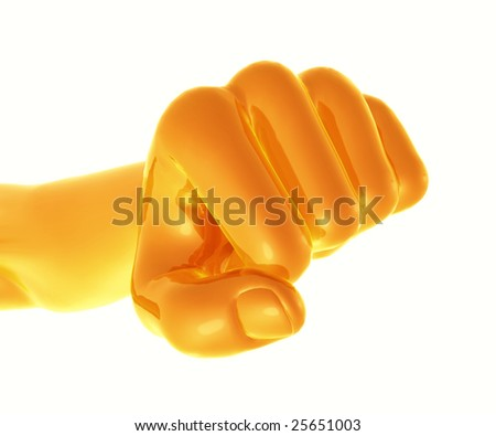 Powerful golden fist - stock photo