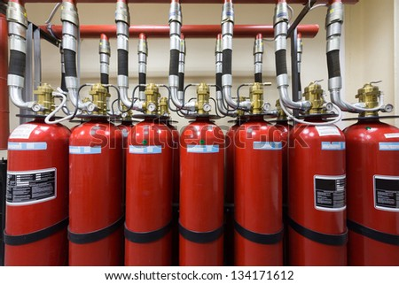 Powerful industrial fire extinguishing system. - stock photo