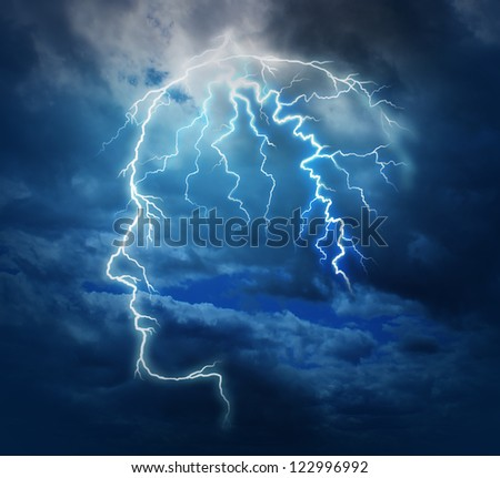 Powerful intelligence with an electric lightning bolt strike in the shape of a human head illuminated on a storm cloud night sky as a brain function neurology health care symbol. - stock photo
