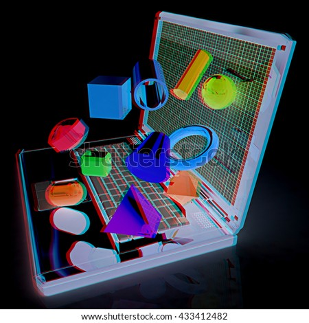 Powerful laptop specially for 3d graphics and software on a black background. 3D illustration. Anaglyph. View with red/cyan glasses to see in 3D. - stock photo