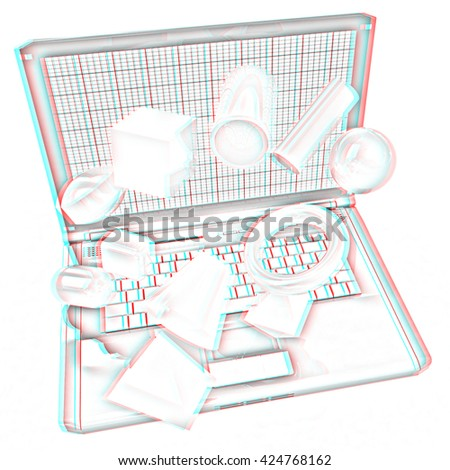 Powerful laptop specially for 3d graphics and software on a white background. Pencil drawing. 3D illustration. Anaglyph. View with red/cyan glasses to see in 3D. - stock photo