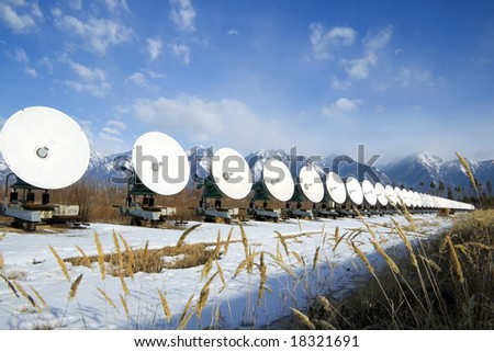 Powerful radio telescope in mountains Sayan - stock photo