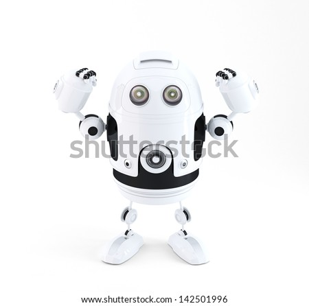 Powerful robot. Technology concept. Isolated - stock photo