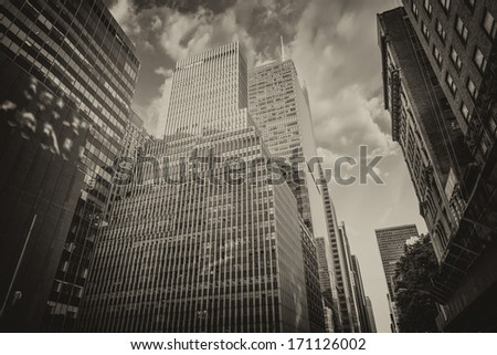 Powerful structure of Lower Manhattan skyscrapers in black and white