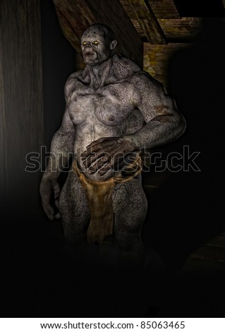 Powerful Troll monster moves out of the shadows into the dust fill smokey light, Illustration - stock photo
