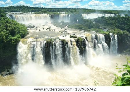 Powerful wide waterfalls - stock photo