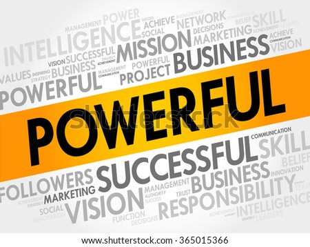 POWERFUL word cloud, business concept - stock photo