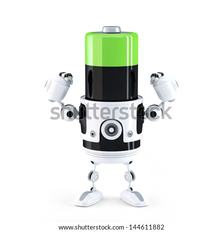 Powerfull charged battery. Technology concept - stock photo