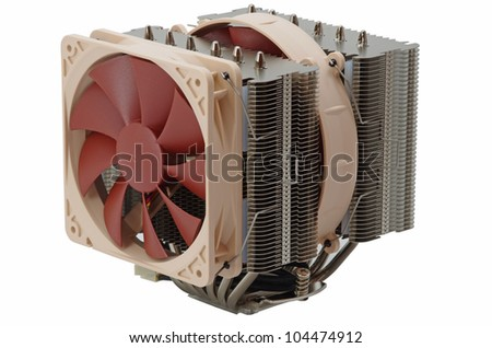 Powerfull cooler for CPU with hotpipes - stock photo