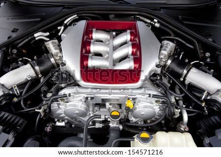 Powerfully engine of a modern sports car. Engine