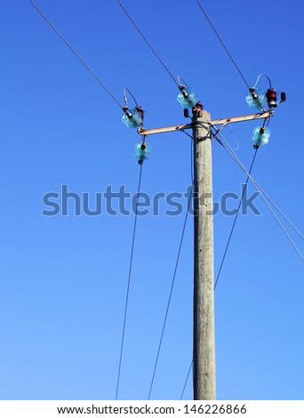 Powerline on wooden pillar