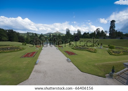 Powerscourt gardens showing beautiful Irish country estate with Wicklow mountains visible in the distance