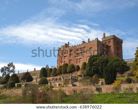 Powys Castle built high on a hillside near Monmouth, Wales, UK. Maintained by the National Trust.