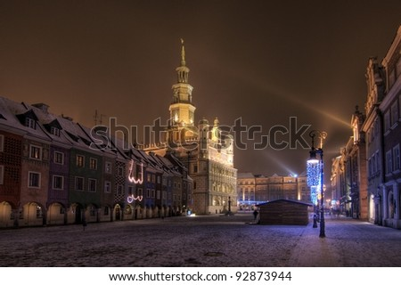 Pozna? Old Town is a central neighbourhood of the city of Pozna? in western Poland, covering the area of the walled medieval city of Poznan.Town Hall in Poznan - stock photo