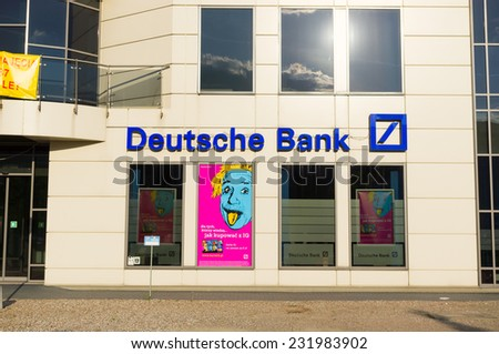 POZNAN, POLAND - APRIL 29, 2014: Entrance of an Deutsche Bank  - stock photo