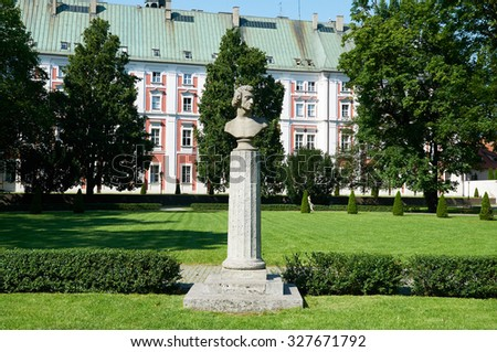 POZNAN, POLAND - AUGUST 20, 2015: Fryderyk Chopin's (Frederic Chopin) monument in Frederic Chopin Park, was a Polish composer and virtuoso pianist of the Romantic era - stock photo