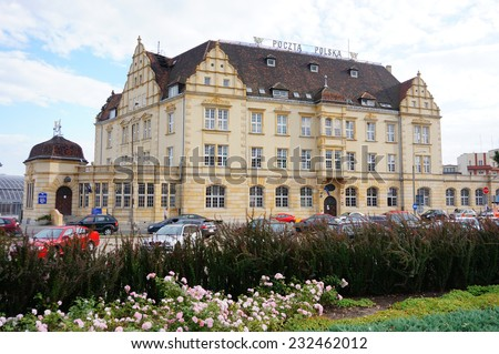 POZNAN, POLAND - AUGUST 27, 2013: Post office building at the Glogowska street  - stock photo
