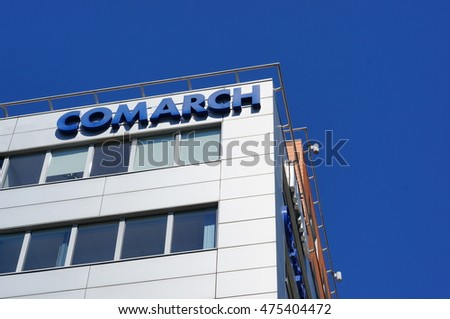 POZNAN, POLAND - AUGUST 26, 2016: Top of a Comarch office building on the Roosevelta street on a sunny day