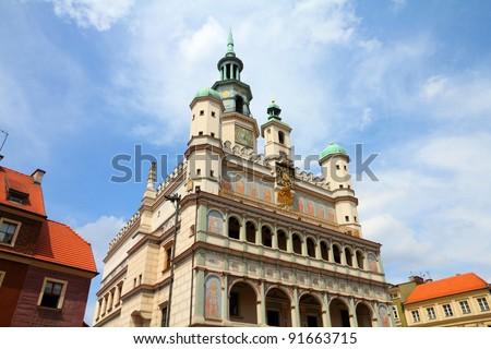 Poznan, Poland - city architecture. Greater Poland province (Wielkopolska). Famous old City Hall at main square (Rynek). - stock photo