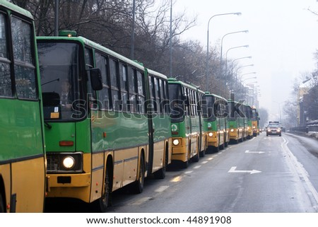 POZNAN, POLAND - JANUARY 16: Solemn farewell of high-floor buses in the parade, combined with the celebration of 85 years of bus service in Poznan on January 16, 2010 in Poznan, Poland