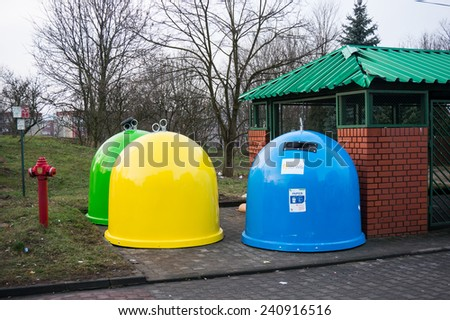 POZNAN, POLAND - JANUARY 01, 2015: Trash containers in different colors at the Stare Zegrze area - stock photo