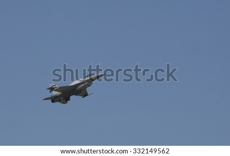 POZNAN, POLAND - JULY 11, 2014:F-16 Fighting Falcon is a single-engine multirole fighter aircraft originally developed by General Dynamics - stock photo